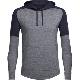 Icebreaker Momentum LS Hood Men Midnight Navy/Snow Heather/Midnight Navy